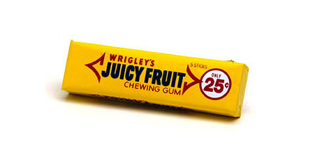 First UPC bar code scan occured in 1974 on a Wrigley's chewing gum pack. The scan was successful and the gum rang up at 67 cents. Photo: Wrigley's® Juicy Fruit®