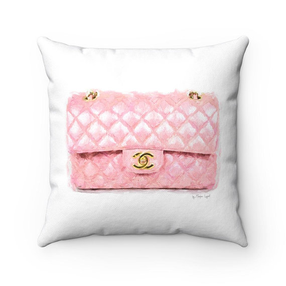 painted style pink chanel bag accent throw square pillow the zebra lady