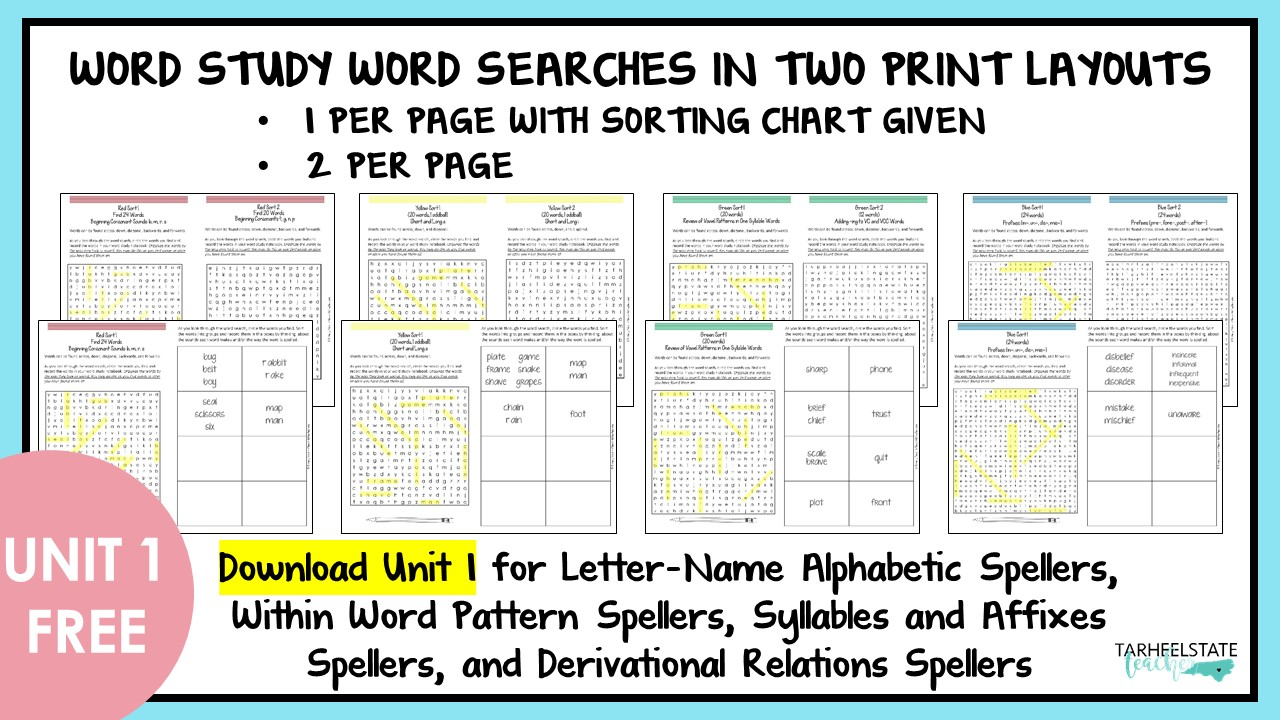 Words Their Way Free Resources For Word Study Tarheelstate