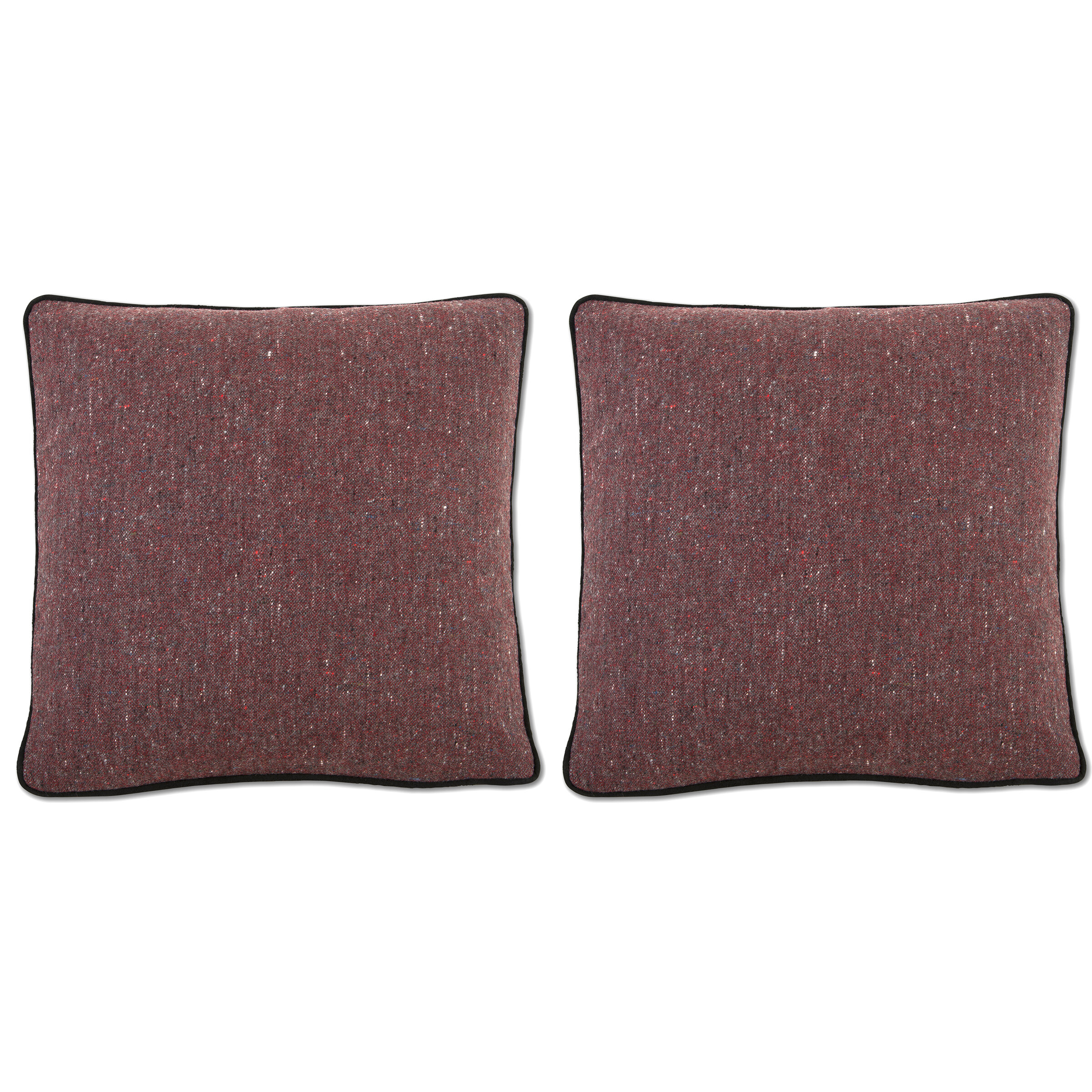 donegal tweed pillow covers red with black suede leather trim 22 inch dallas a saunders artisan textiles