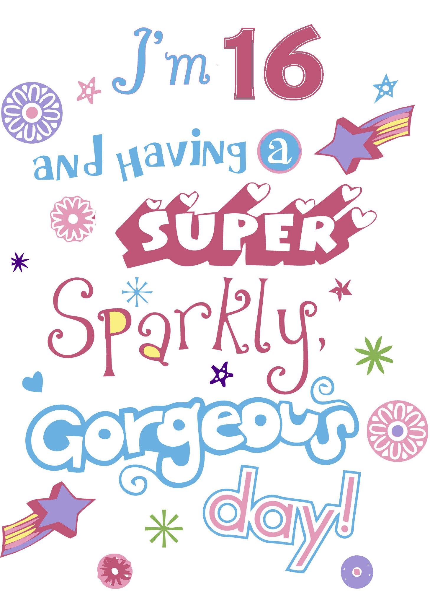 Cute Birthday Card For A 16 Year Old Girl Printbirthday Cards