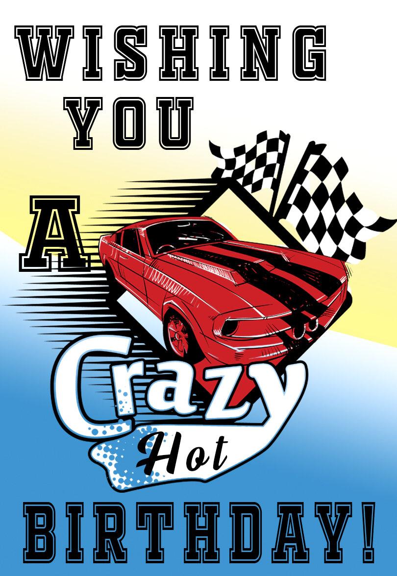 Hot Rod Car Printable Birthday Card Printbirthday Cards