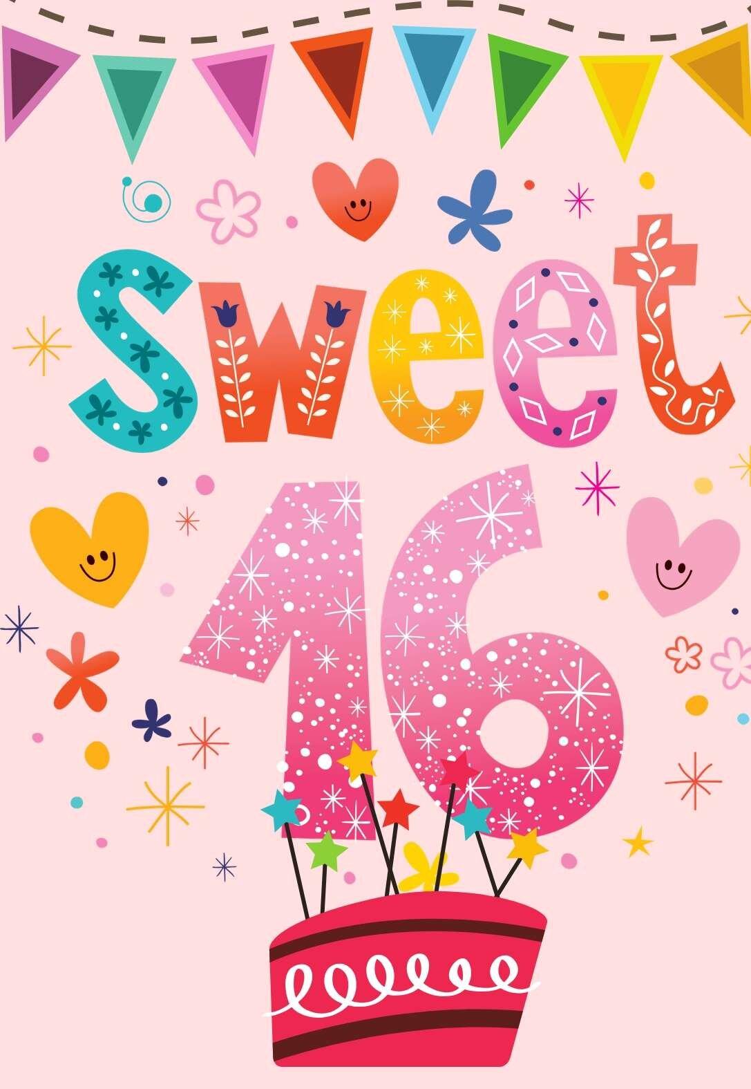 Sweet 16 16 Year Old Birthday Cards Printbirthday Cards