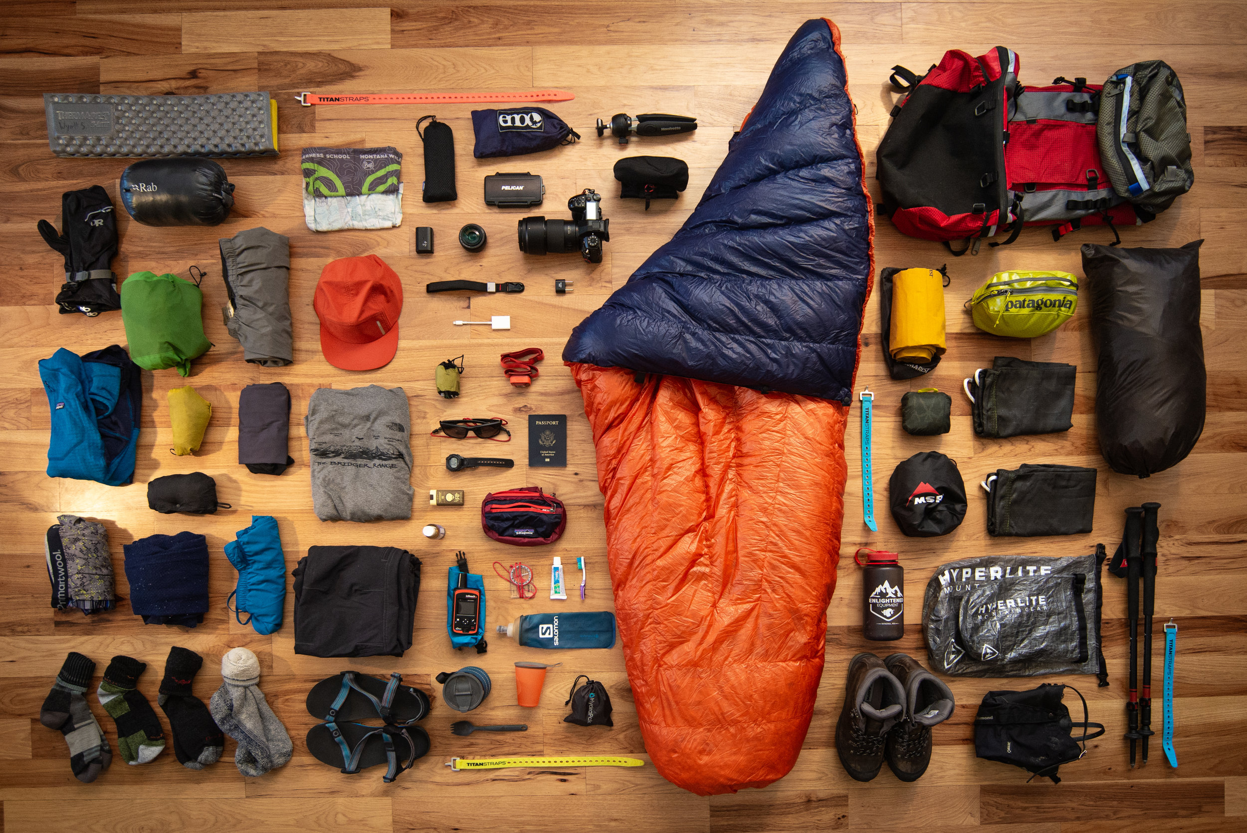 A classic gear grid. The ultimate cliche pre-trip shot, but it satisfies the gear-nerd within me to see everything I'll be packing all laid out. Just LOOK at it! Nothing gets me more excited…