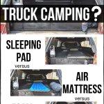 Choosing The Best Suv Or Truck Bed Mattress Memory Foam Vs Air Mattress Vs Sleeping Pad Take The Truck