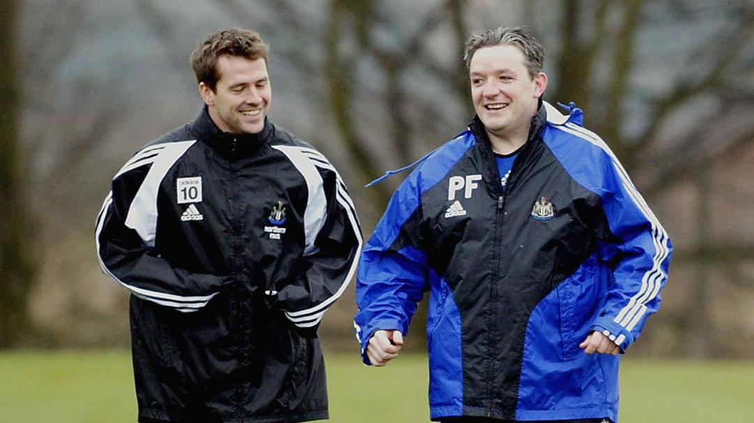 Ferris in his physio days at Newcastle with possibly his best client, Michael Owen.