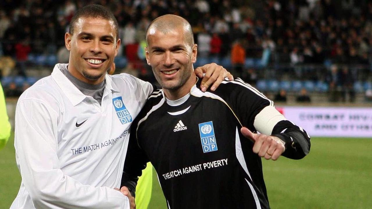 Zidane turning out in a charity match with former Real Madrid teammate, Ronaldo
