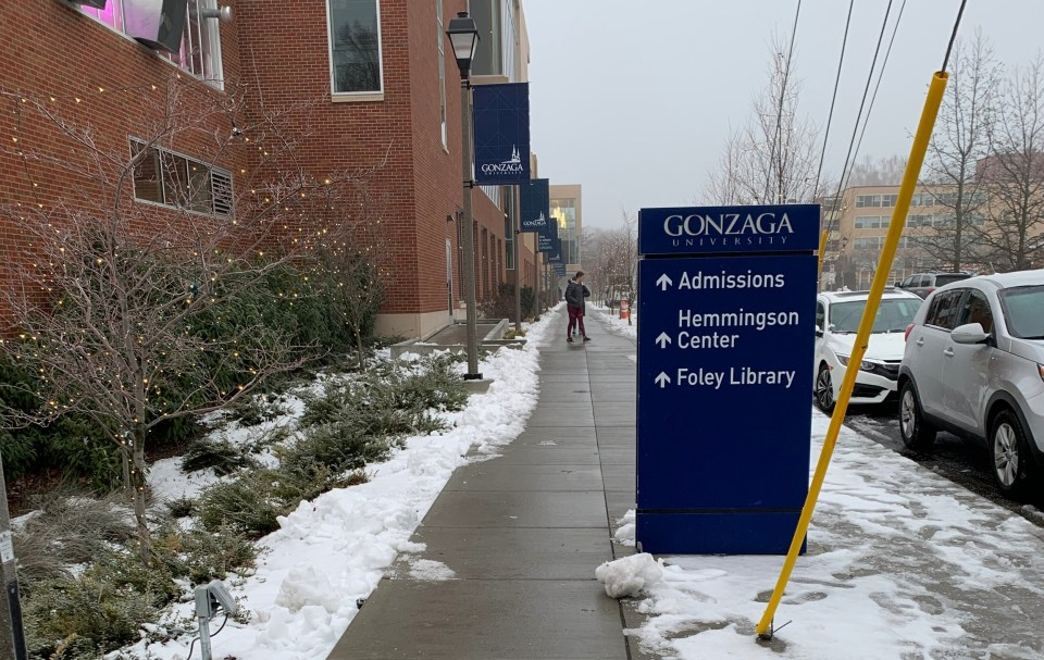 Icy sidewalk en route to Gonzaga's Foley Library for their official Skilltype kickoff. January 23, 2019.