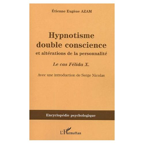 """Image Description: Brown book cover with French words at the top """"Hypnotisme double conscience et alterations de la personnalite"""" with darker brown stripe across the bottom half with words printed """"Encyclopedie psychologique""""."""