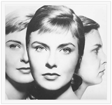 """Image Description: Black and White composite photo from the movie poster of """"Three Faces of Eve"""". First woman on left is blonde, facing forward, and smiling. Second woman on right is facing right, frowning, dark hair, more matronly. They are in the background. In the foreground is overlapping picture of more elegant woman facing the viewer."""