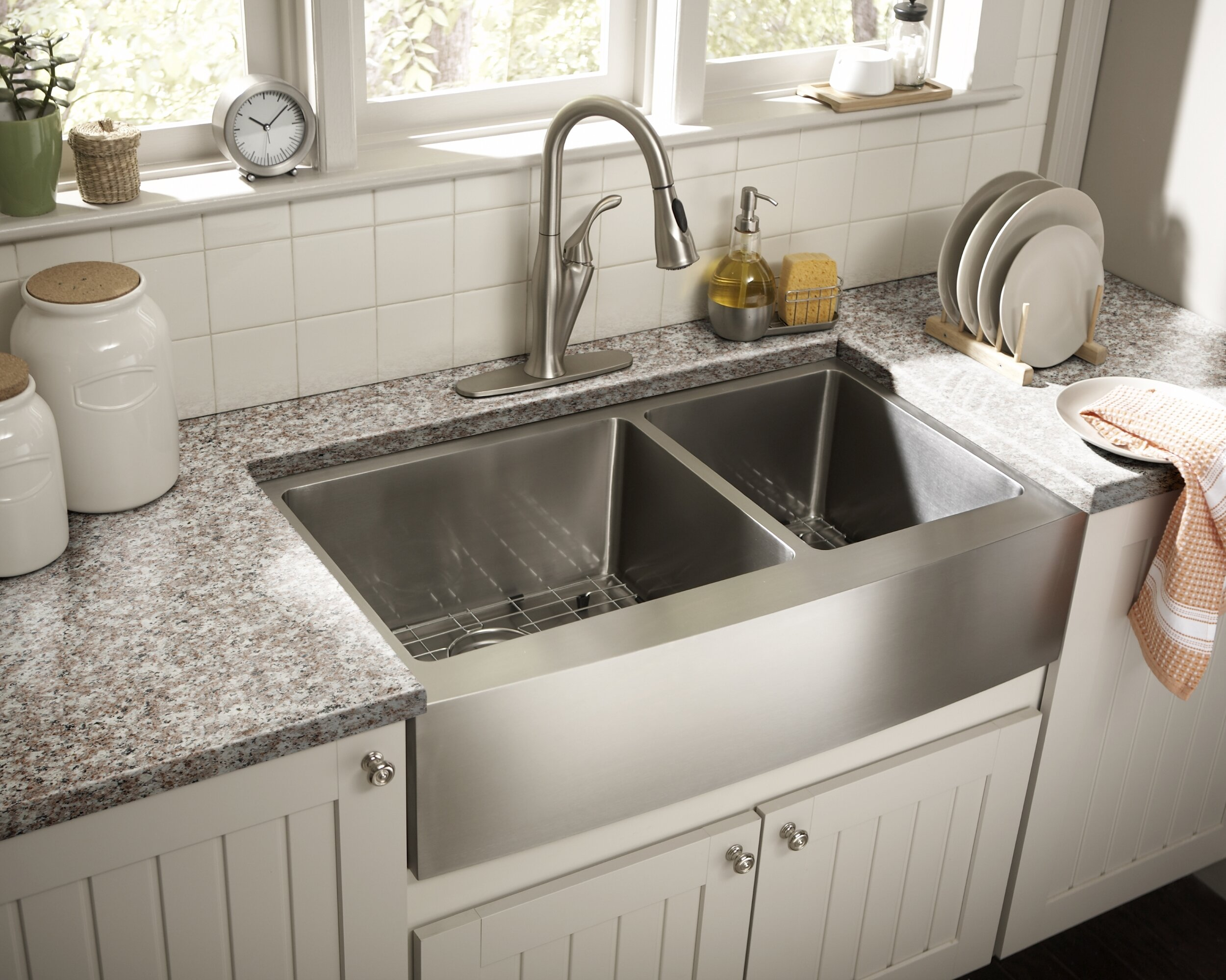 35 7 8 in 60 40 bowl apron front 16 ga stainless steel kitchen sink cahaba designs