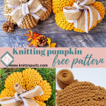 Easy Knit Pumpkin Free Pattern Tshirt Yarn Free Knitting Pattern For Fall Thanksgiving Decor Knitznpurlzt Shirt Yarn And Crochet Patterns