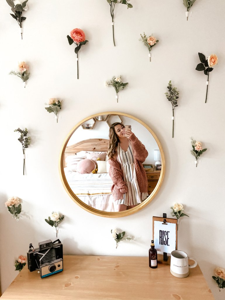 Hanging Flower Wall DIY Bedroom Design | Flower Wall Tutorial