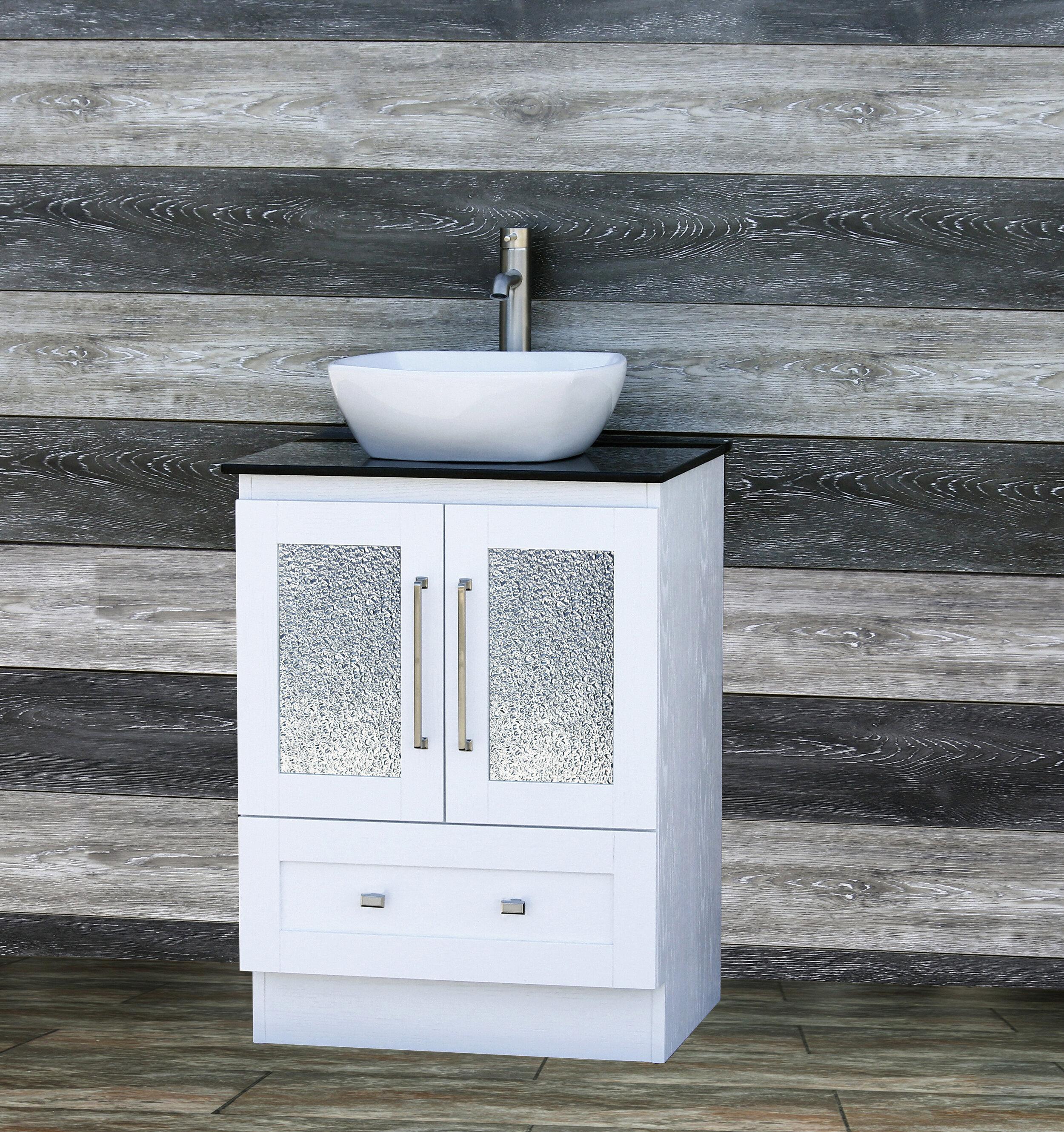 vanitesse 24 bathroom white vanity black stone top ceramic vessel sink b2421w vanity max