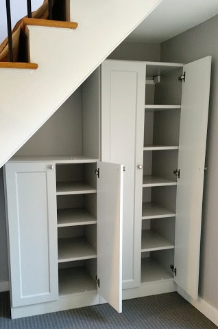 Unique Spaces — Carl S Closets | Cabinet Design Under Stairs | Tv Stand | Stairs Storage Ideas | Kitchen | Shelves | Staircase Ideas