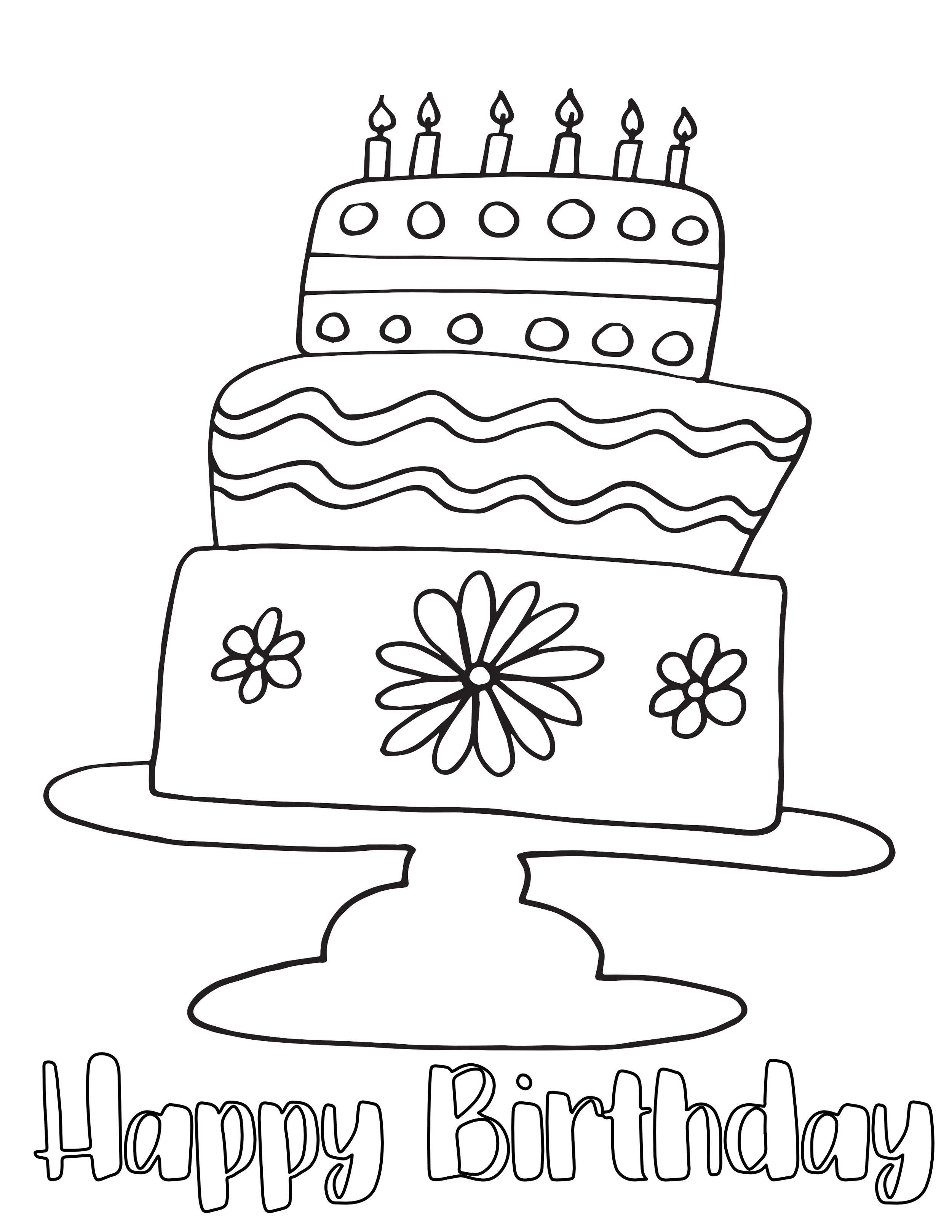 Happy Birthday Cake Free Coloring Page Stevie Doodles Free Printable Coloring Pages