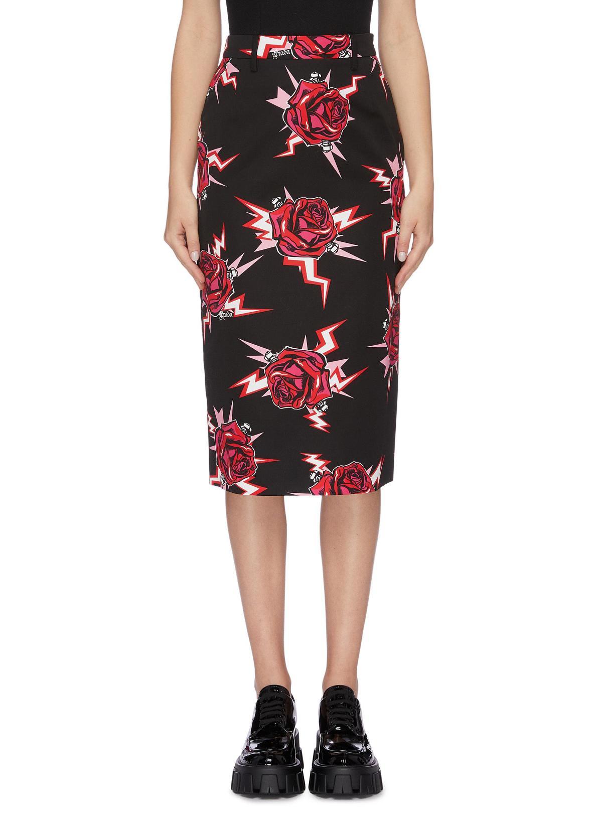 Prada Rose Bolt Print Poplin Skirt HKD$8,550