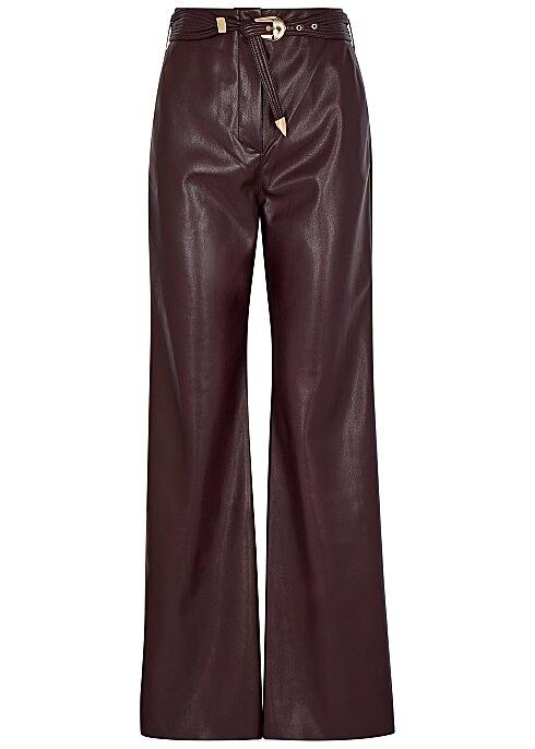 NANUSHKA Kisa burgundy faux-leather trousers HK$3,070