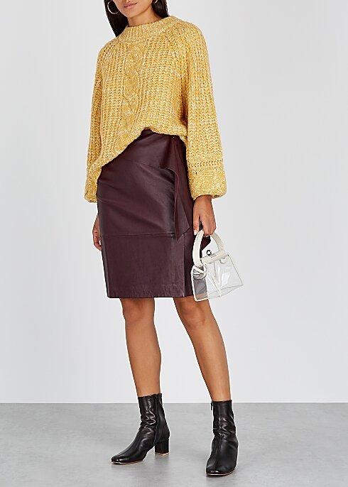 GESTUZ Aliah plum leather midi skirt HK$2,460