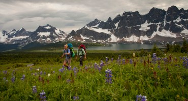 hikers walking through Tonquin Valley