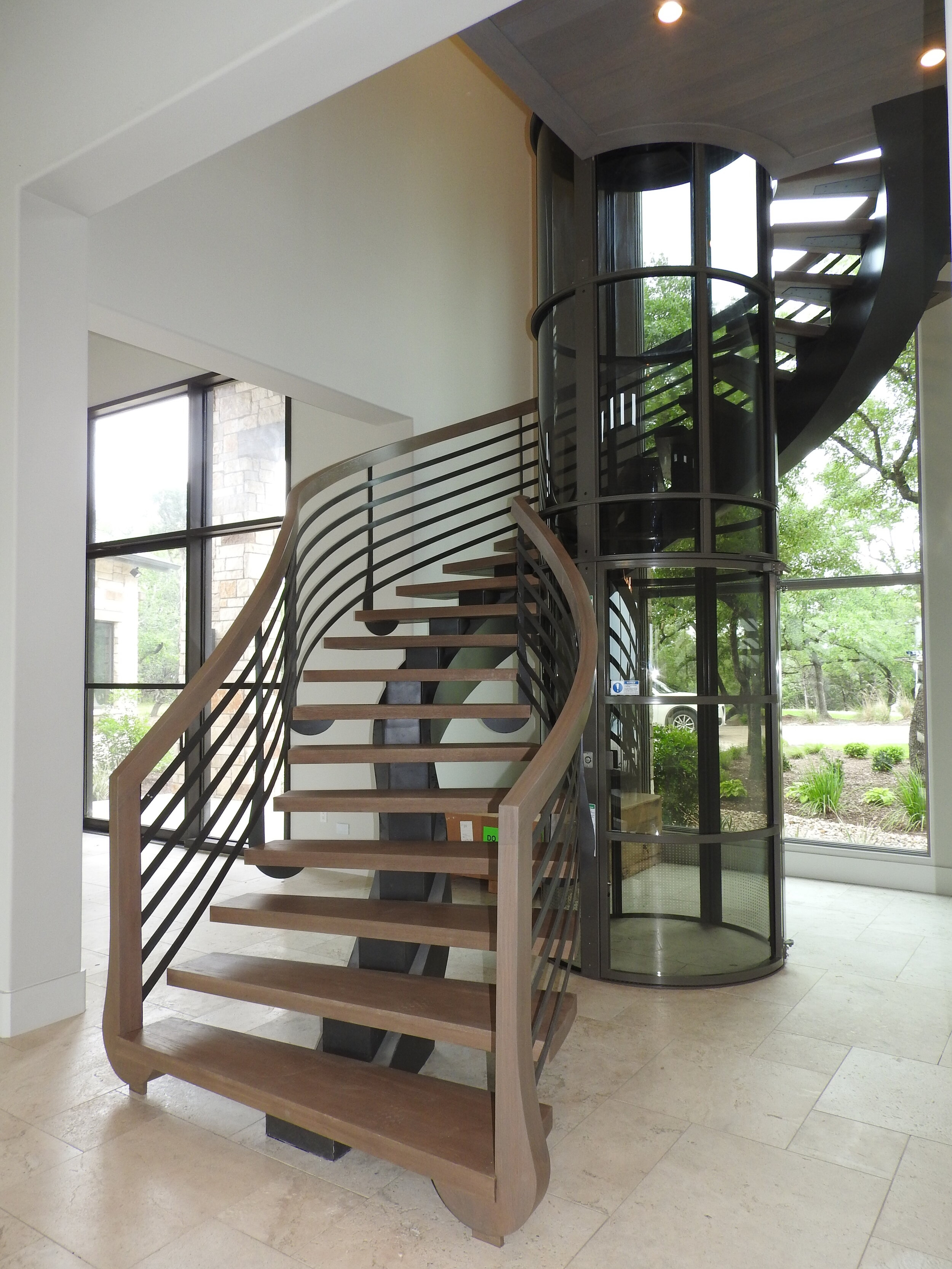 Staircase Railings — San Marcos Iron Doors | Floating Stairs With Glass Railing | Duplex Balcony | Combination Glass | Glass Balustrade | Crystal Handrail | Innovative Glass