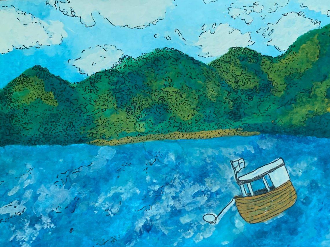 """""""En las fuentes, en ríos, y sobre todo en el mar, pueda que el agua esté bendita…"""" Ilustración de Ani Ventocilla King"""