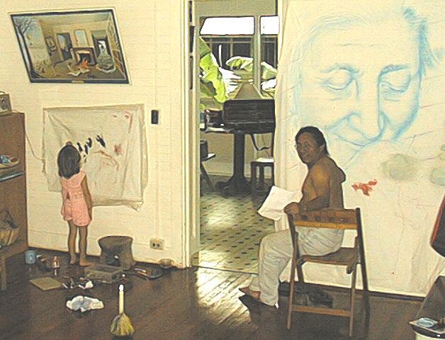 Agosto del 2000, en Gamboa. Ani Ventocilla, nuestra ilustradora, de pequeñita. Pintando a la par de Ologuagdi, siempre grande.