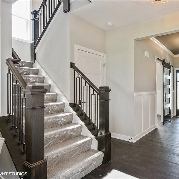 Update Your Foyer — Stockham Lumber Co   White And Dark Wood Stairs   Medium Dark   Foyer   Stair Railing   Indoor   Traditional