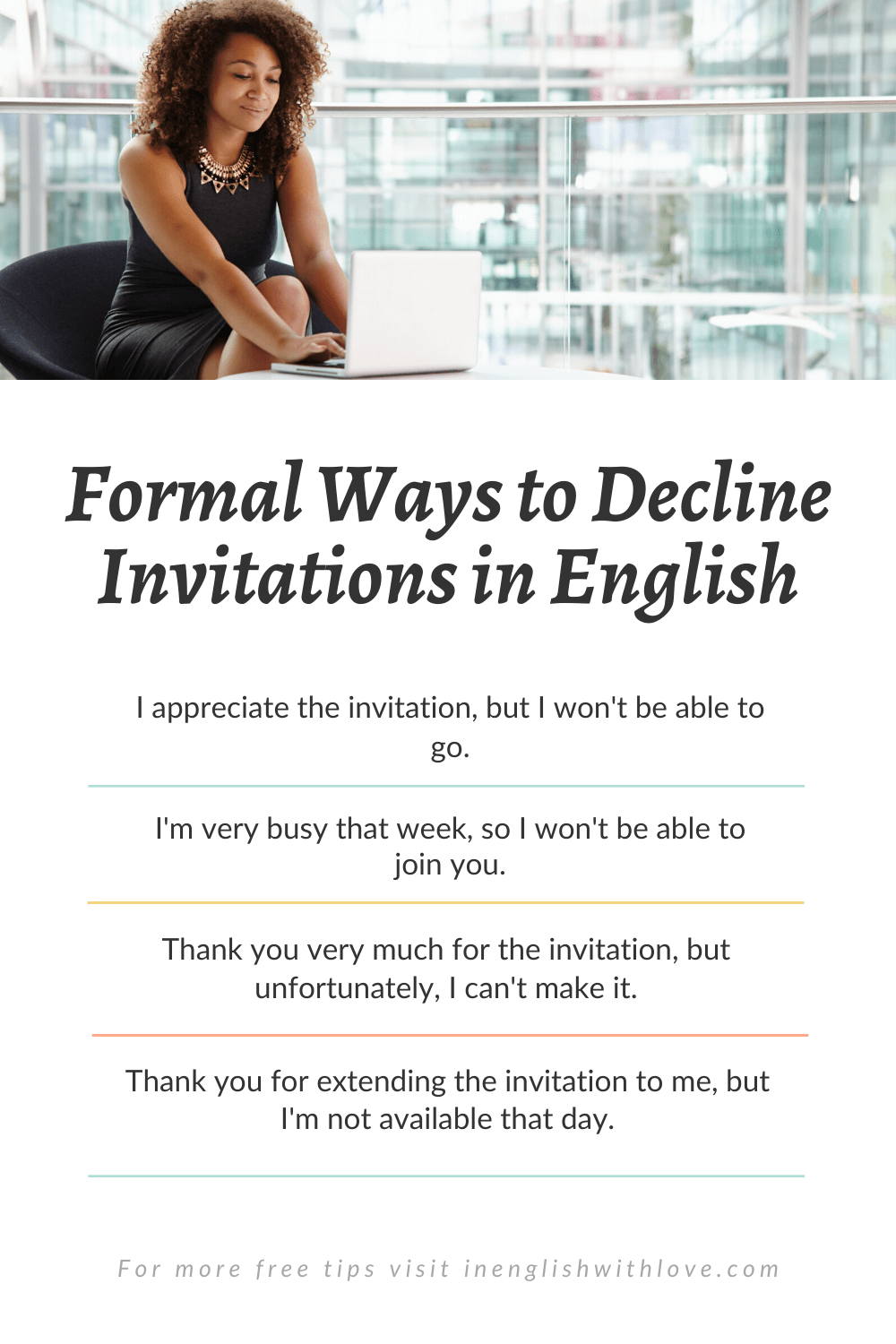 how to decline an invitation in english