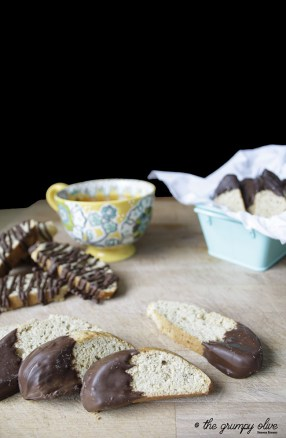 Chocolate Dipped Banana Bread Biscotti