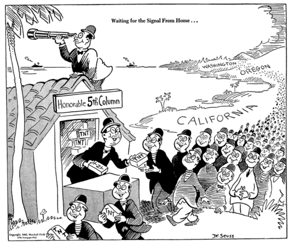 This one is bad, but at least it supports a political view that had a context after the Japanese attack on Hawaii. Dr. Seuss, Public domain, via Wikimedia Commons