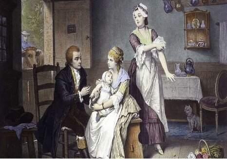 Edward Jenner vaccinating his child against smallpox; coloured engraving.  Image: Wellcome Library, London (CC BY 4.0)
