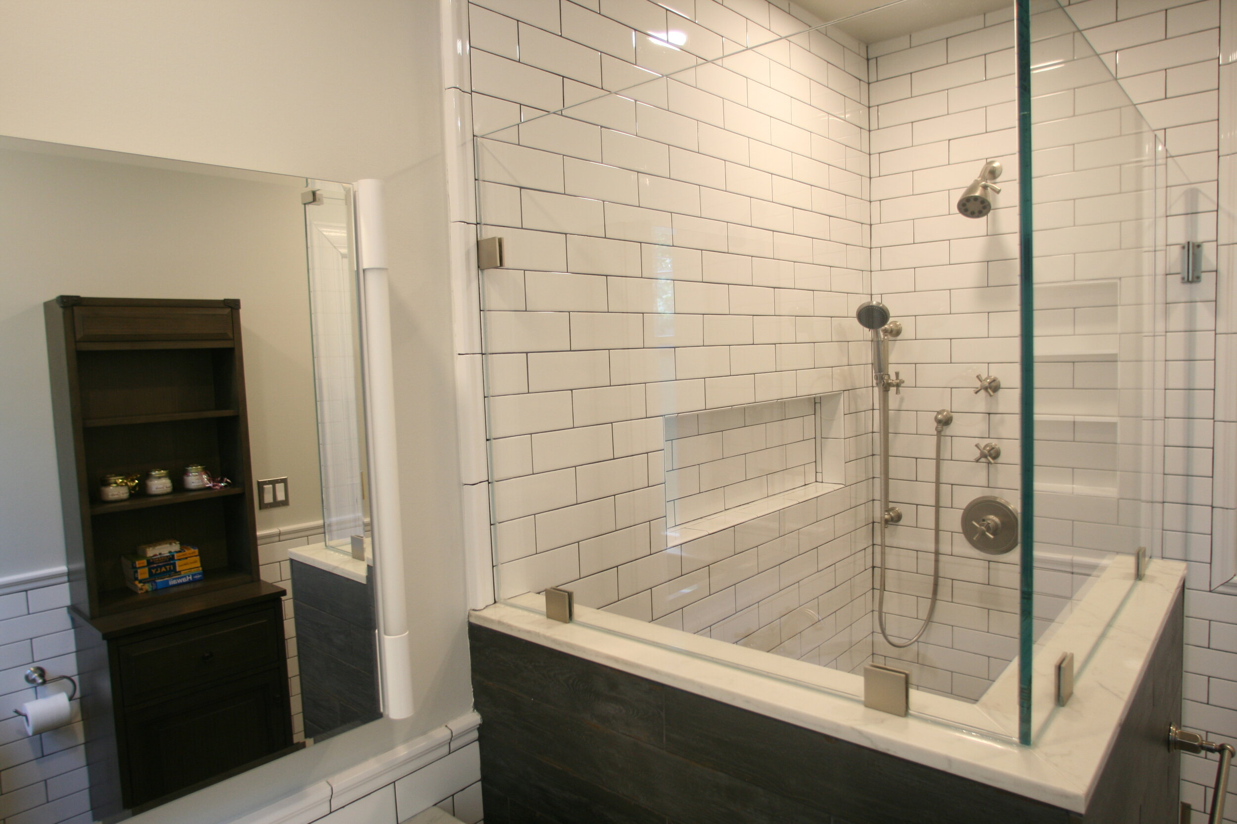 white subway tile bathroom remodel