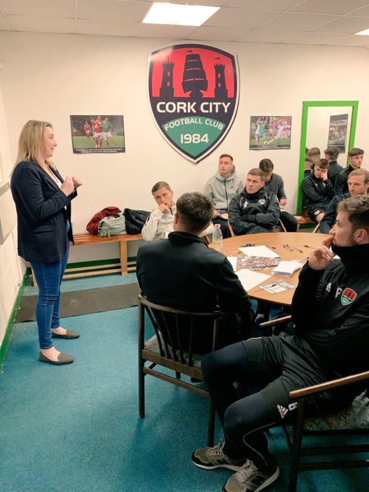 Dr. Emma Burrows discussing life after sport with Cork City FC in 2019 | Emma Burrows