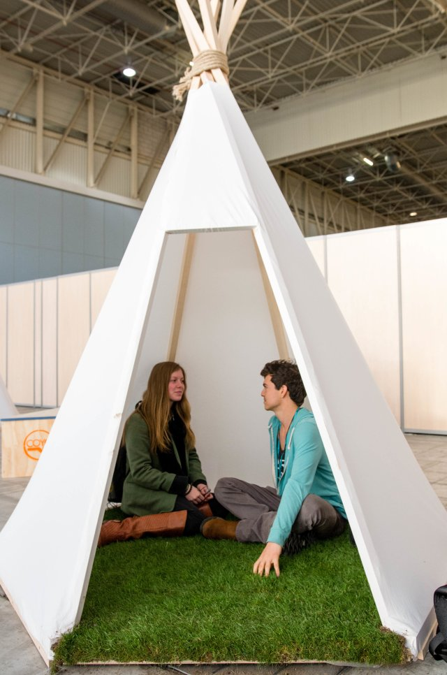 Real grass inside tipi inspired meeting spaces at COY 11