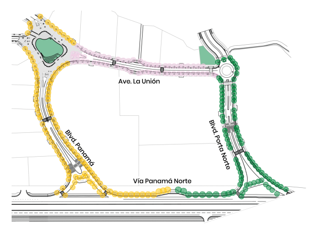 Boulevard Panamá: Llama Dorada (amarillos). Avenida La Unión: Sombreiro (rosados). Boulevard Porta Norte: Lorito (verdes).