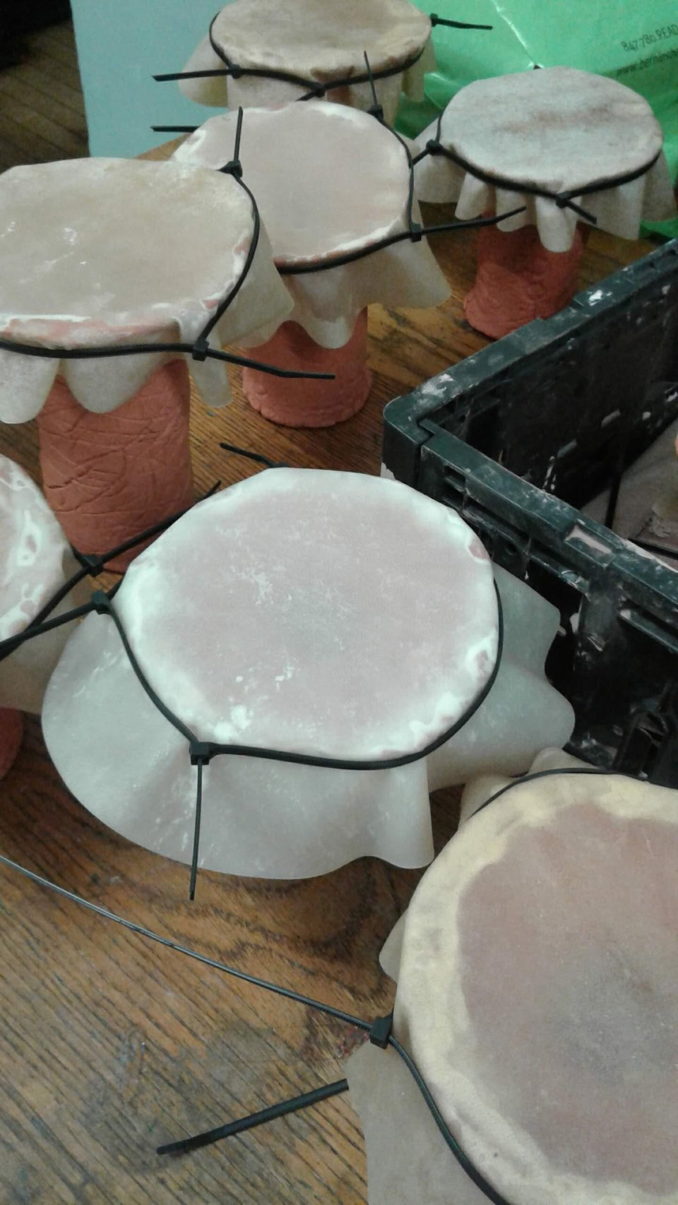- Students constructed 3 different sound makers out of terra cotta clay. These included bells, wherein students made pinched bell forms and clappers, rattles, that involved making a hollow form by joining 2 pinch pots and filling it with clay beads, and hand drums made by joining slab and press-molded forms for the base, and then stretching a goat skin over the base after firing.