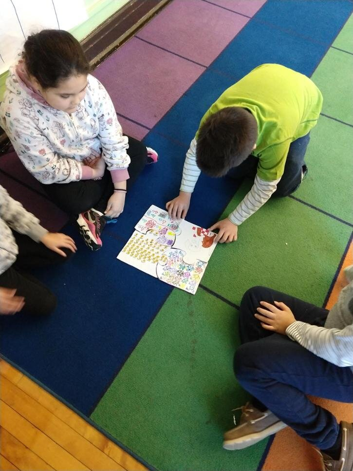 Everyone made their own puzzle piece using patterns and symbols to represent themselves. We counted off into scrambled groups to rearrange our puzzle pieces and reflect.