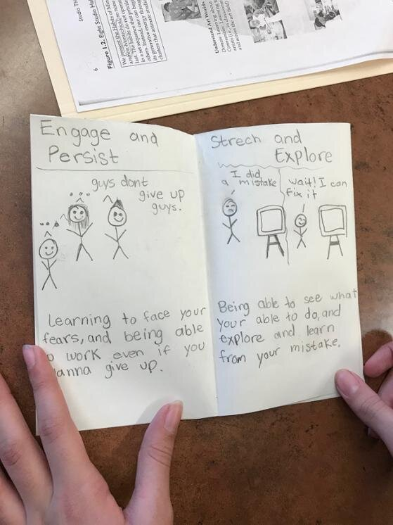 Students create drawings of what the Studio Habits mean to them