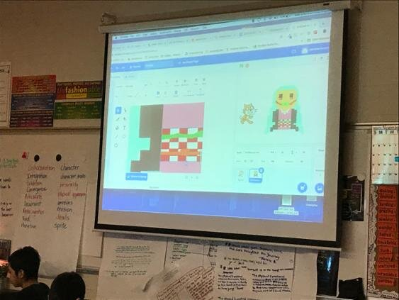 Students develop their drawings and cross stitch designs into SCRATCH animation characters. The final stage of the project is to use basic block coding to animate their characters.
