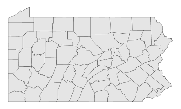 Basic map of PA counties. Source: U.S. Census Bureau TIGER/Line Shapefiles.