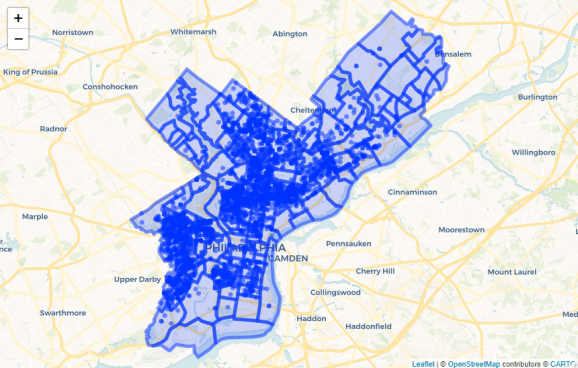 Leaflet map with provider tiles (this is a static screenshot of an interactive map). Source: OpenDataPhilly