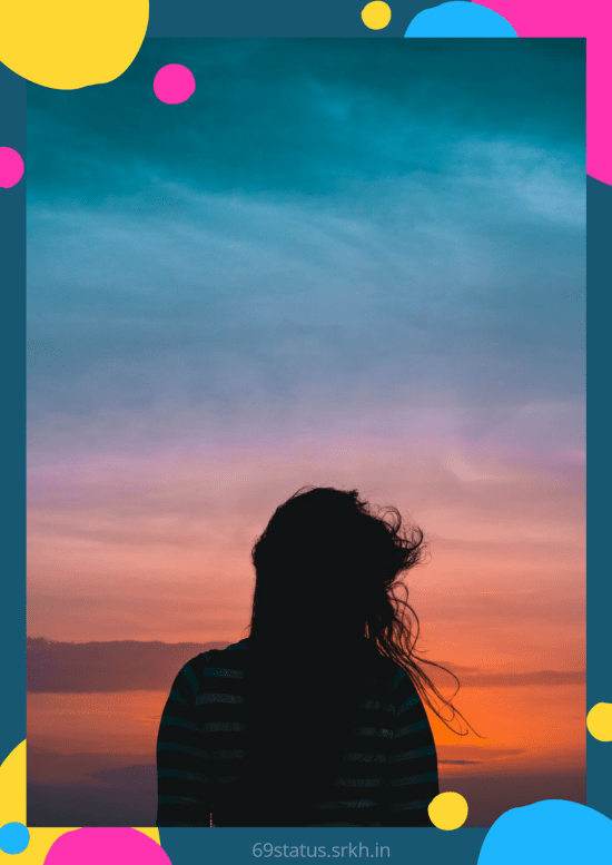Sad Background photo Girl Looking at the Sunset