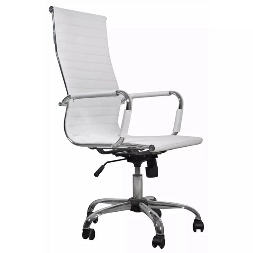 chaise de bureau simili cuir blanc dossier haut