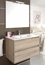 meuble salle de bain suspendu sr 80x45cm avec deux tiroirs vasque en ceramique