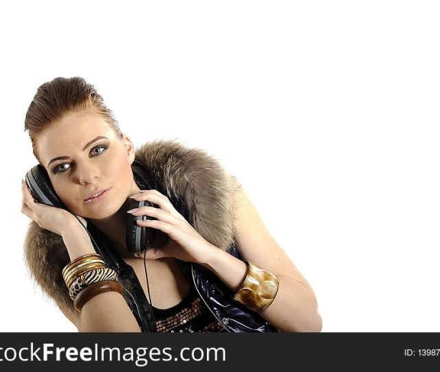 Young Sexy Party Girl With Headphones Free Stock Images Photos  Stockfreeimages Com