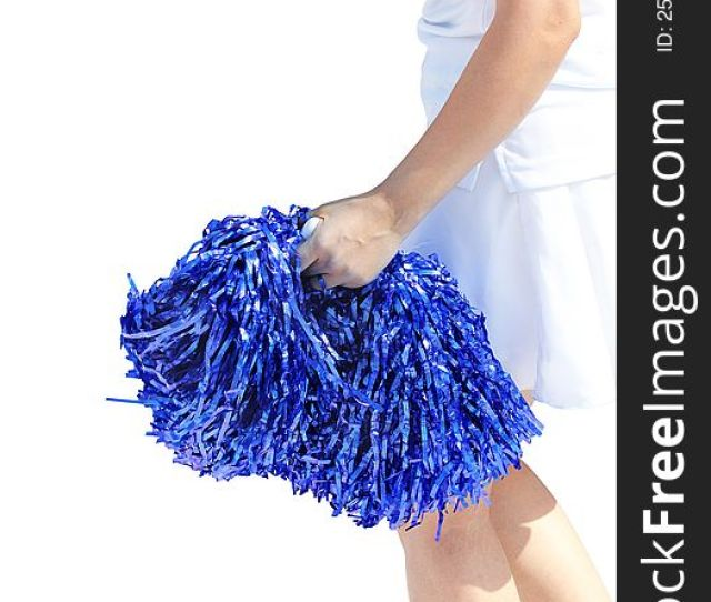 Young Cheerleading Girl Violet Colored Pom Pon