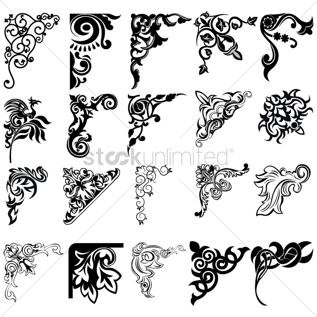 Corner Element Designs Vector Image