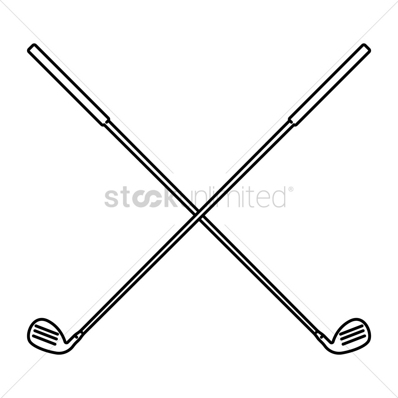 Crossed Golf Clubs Vector Image