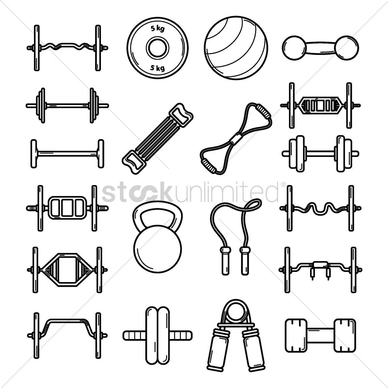 Fitness Equipment Icons Vector Image